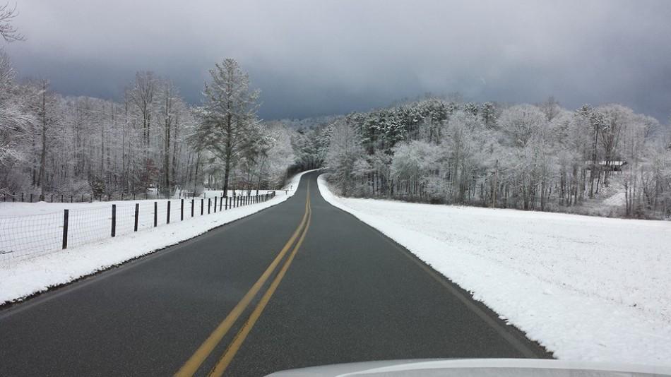 A North Georgia road in the snow.